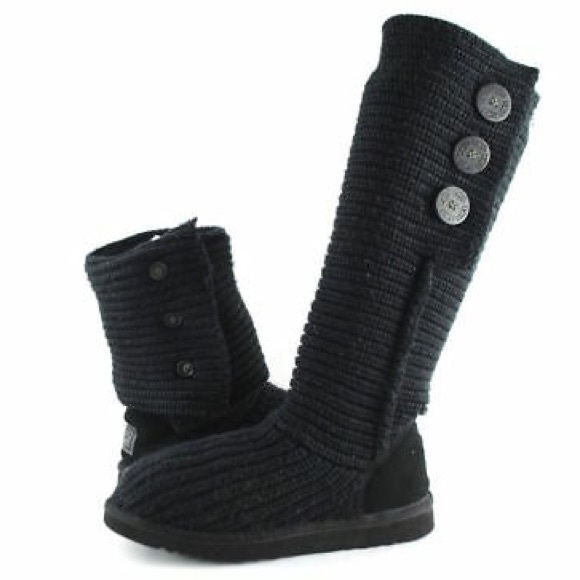 UGG 5819 Classic Cardy Knit Boots Size 5 Black